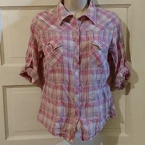 Forever 21 3/4 Sleeve Plaid Button Down Top S